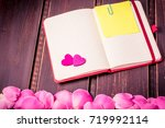 rose flowers leaves with blank...   Shutterstock . vector #719992114