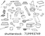 icon set of line drawings of... | Shutterstock .eps vector #719993749