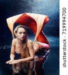 beautiful model wearing a... | Shutterstock . vector #719994700