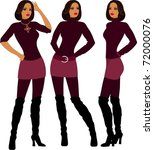 fashion model in different poses | Shutterstock .eps vector #72000076