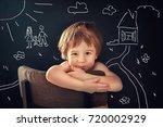 portrait of a cute funny little ... | Shutterstock . vector #720002929