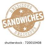 sandwiches stamp | Shutterstock .eps vector #720010408