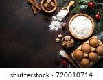 christmas baking background.... | Shutterstock . vector #720010714