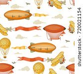 seamless pattern with retro air ... | Shutterstock .eps vector #720021154