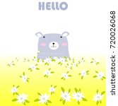 vintage cute blue bear spring... | Shutterstock .eps vector #720026068