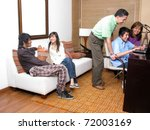 family in living room with... | Shutterstock . vector #72003169