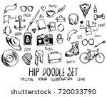 set of hip doodle illustration... | Shutterstock .eps vector #720033790