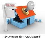 3d illustration of block house... | Shutterstock . vector #720038056