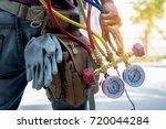 steel ladder  | Shutterstock . vector #720044284