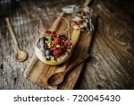 glass of rice vanilla pudding ... | Shutterstock . vector #720045430