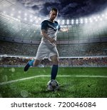 football scene with competing... | Shutterstock . vector #720046084