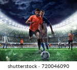 football scene with competing... | Shutterstock . vector #720046090