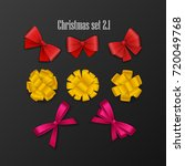 set of 8 bow for decoration or...   Shutterstock .eps vector #720049768