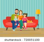 smiling young parents and their ... | Shutterstock .eps vector #720051100
