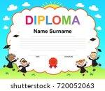 kids diploma certificate... | Shutterstock . vector #720052063