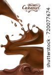 liquid chocolate  caramel or... | Shutterstock .eps vector #720077674