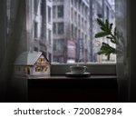 on the windowsill fairy house ...   Shutterstock . vector #720082984