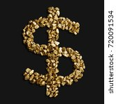 dollar sign made of gold... | Shutterstock . vector #720091534
