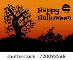 happy halloween card. tree ... | Shutterstock .eps vector #720093268