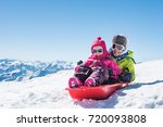 happy little brother and cute... | Shutterstock . vector #720093808