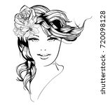 sketch. summer style. girl with ... | Shutterstock .eps vector #720098128