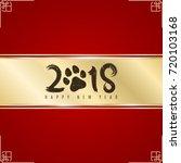 golden ribbon banner on a red... | Shutterstock .eps vector #720103168