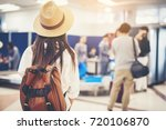 happy woman tourist atin the... | Shutterstock . vector #720106870