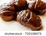 turkish chestnut dessert  ... | Shutterstock . vector #720108073