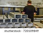 operator bending metal sheet by ... | Shutterstock . vector #720109849