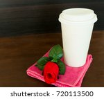 paper coffee cup and red rose...   Shutterstock . vector #720113500