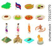 cambodia travel icons set.... | Shutterstock .eps vector #720113770