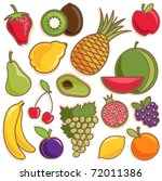 fruit vector set | Shutterstock .eps vector #72011386