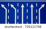 blue road sign indicating... | Shutterstock . vector #720121708