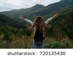 a young girl is traveling in... | Shutterstock . vector #720135430