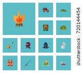 flat icons bag  fire  cigarette ... | Shutterstock .eps vector #720144454