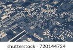 microchips on a circuit board. | Shutterstock . vector #720144724