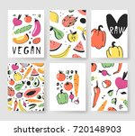 hand drawn set of cards with... | Shutterstock .eps vector #720148903