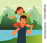dad and his daughter  having... | Shutterstock .eps vector #720148933