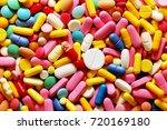 a lot of colorful medication