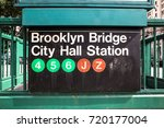 new york city subway entrance... | Shutterstock . vector #720177004