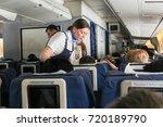 stewardess at work. simferopol... | Shutterstock . vector #720189790