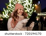 winter holidays and people... | Shutterstock . vector #720194170