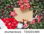 christmas gift card with... | Shutterstock . vector #720201484