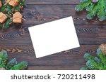 christmas dark wooden... | Shutterstock . vector #720211498