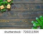 christmas dark wooden... | Shutterstock . vector #720211504