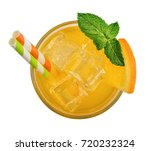 glass of orange soda drink with ...   Shutterstock . vector #720232324