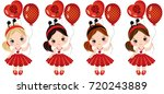 vector cute little girls with... | Shutterstock .eps vector #720243889
