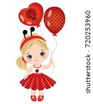 vector cute little girl with... | Shutterstock .eps vector #720253960