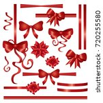 red ribbon and bow set ... | Shutterstock .eps vector #720255580