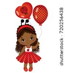 vector cute little african... | Shutterstock .eps vector #720256438